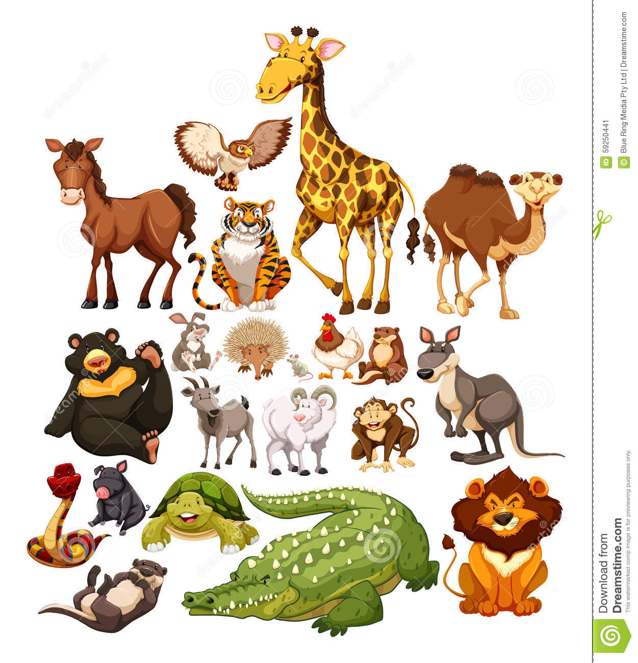 Different Type Of Wild Animals Stock Vector Image: 59250441
