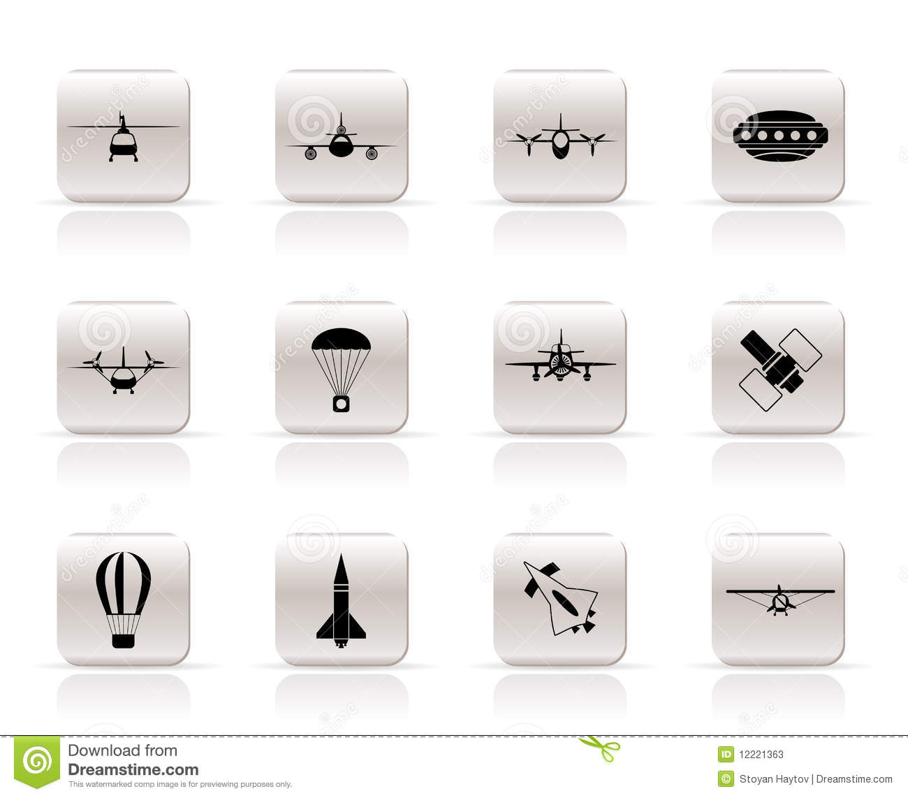 ... types of Aircraft Illustrations and icons - Vector icon set 2: www.dreamstime.com/stock-photos-different-types-aircraft-icons...