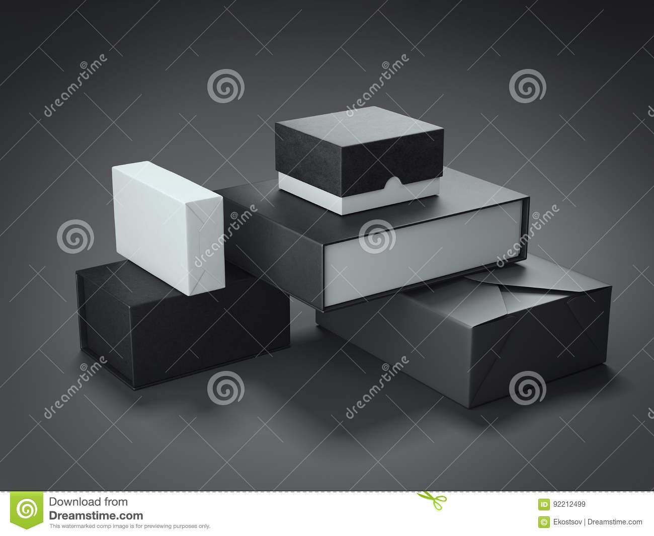 Different types of black boxes 3d rendering stock for Black box container studios
