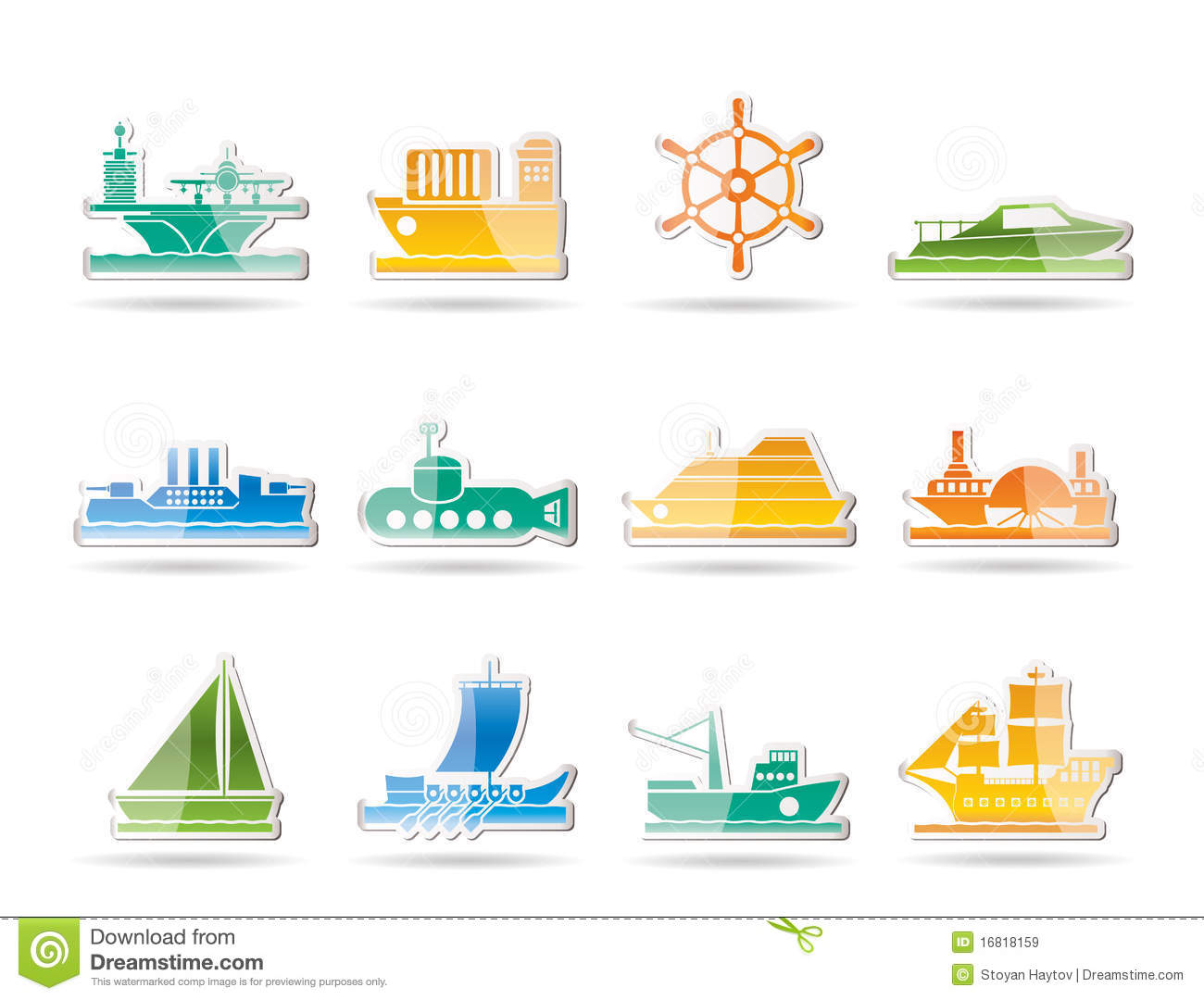 Different Types Of Boat And Ship Icons Stock Images - Image: 11934754