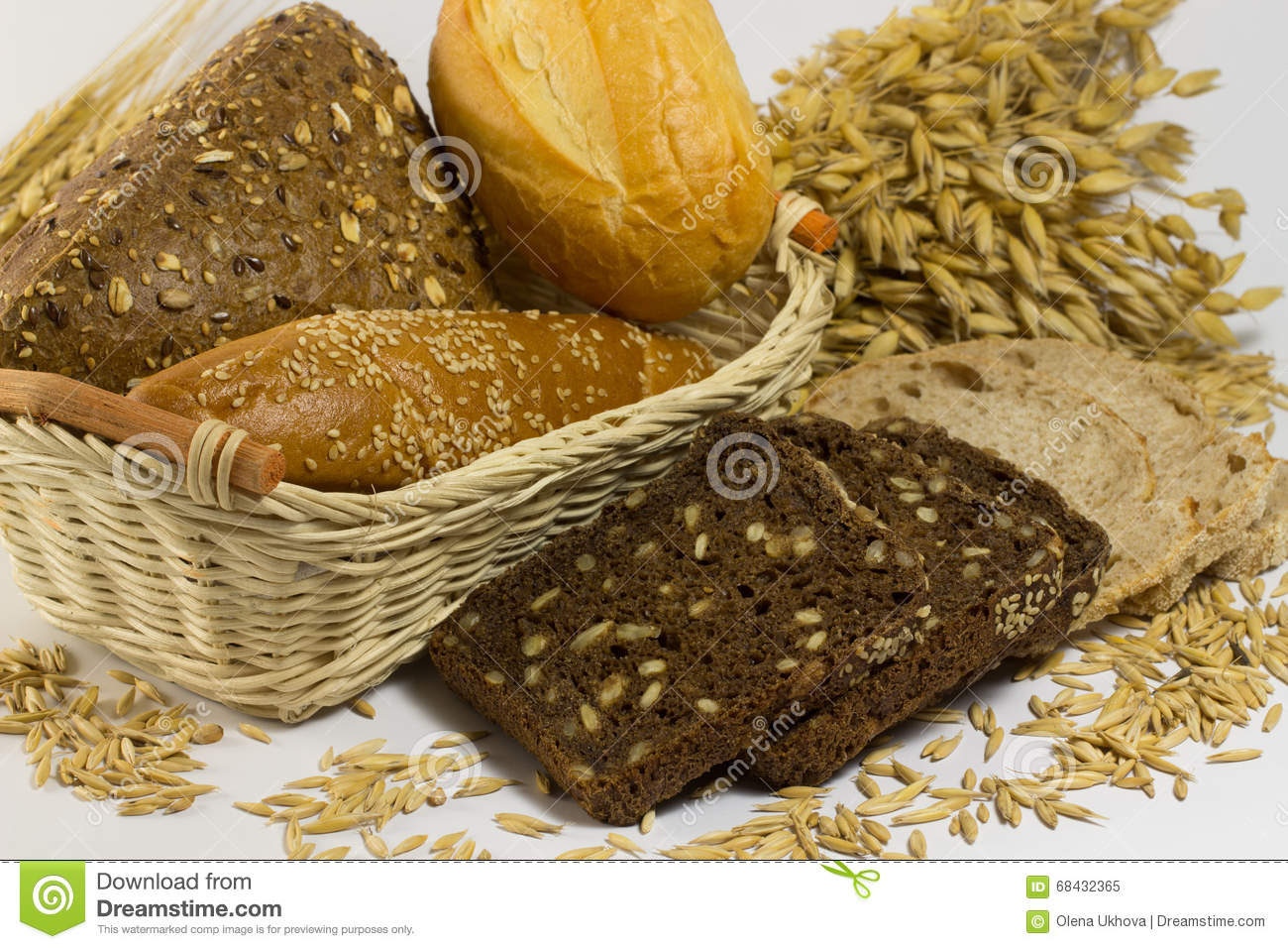 Different types of bread: white and black with seeds, baguettes