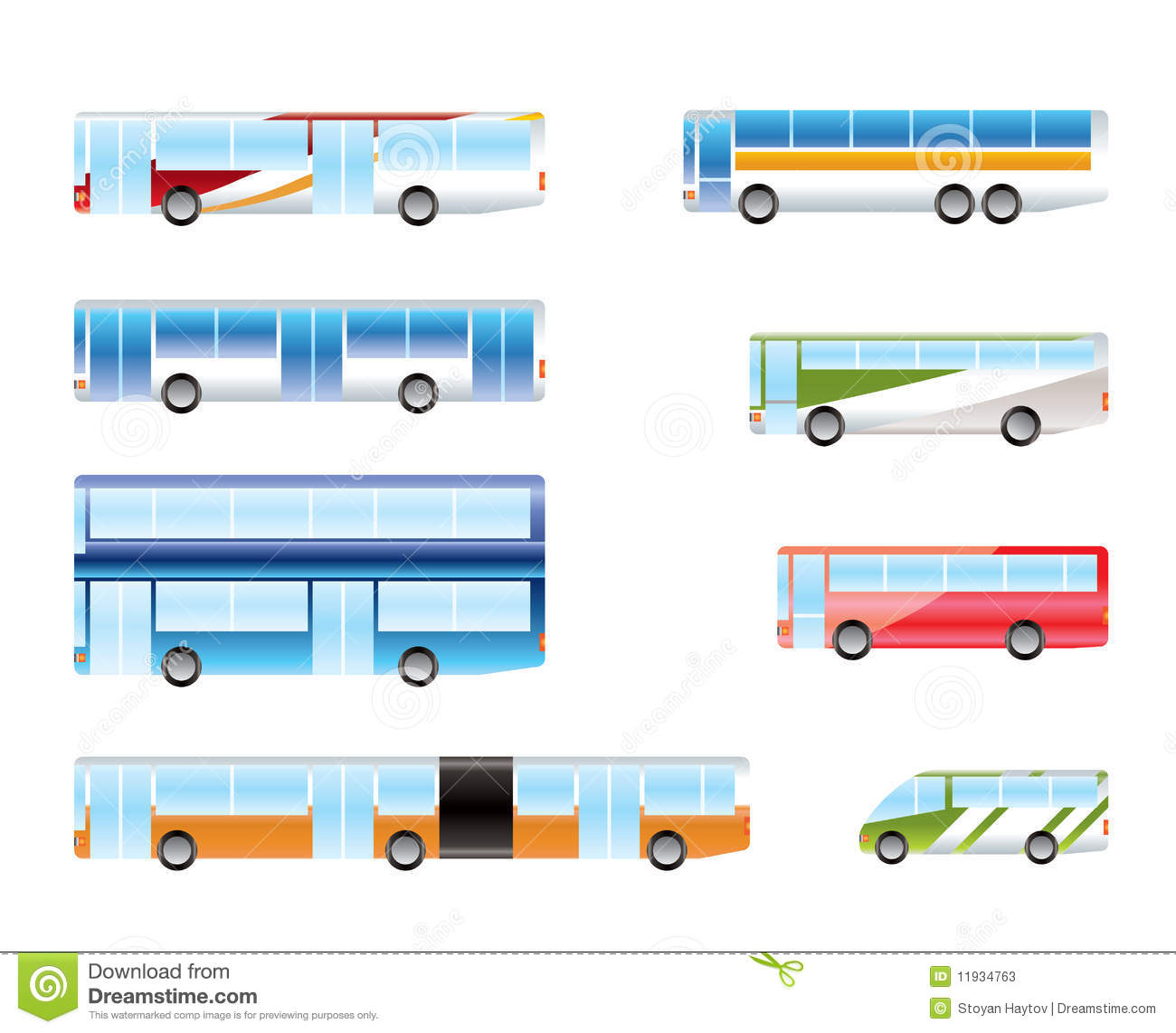 Different Types Of Bus Icons Stock Photos - Image: 11934763