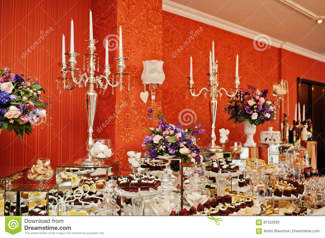 Different Types Of Cakes And Baking At Wedding Reception Table ...