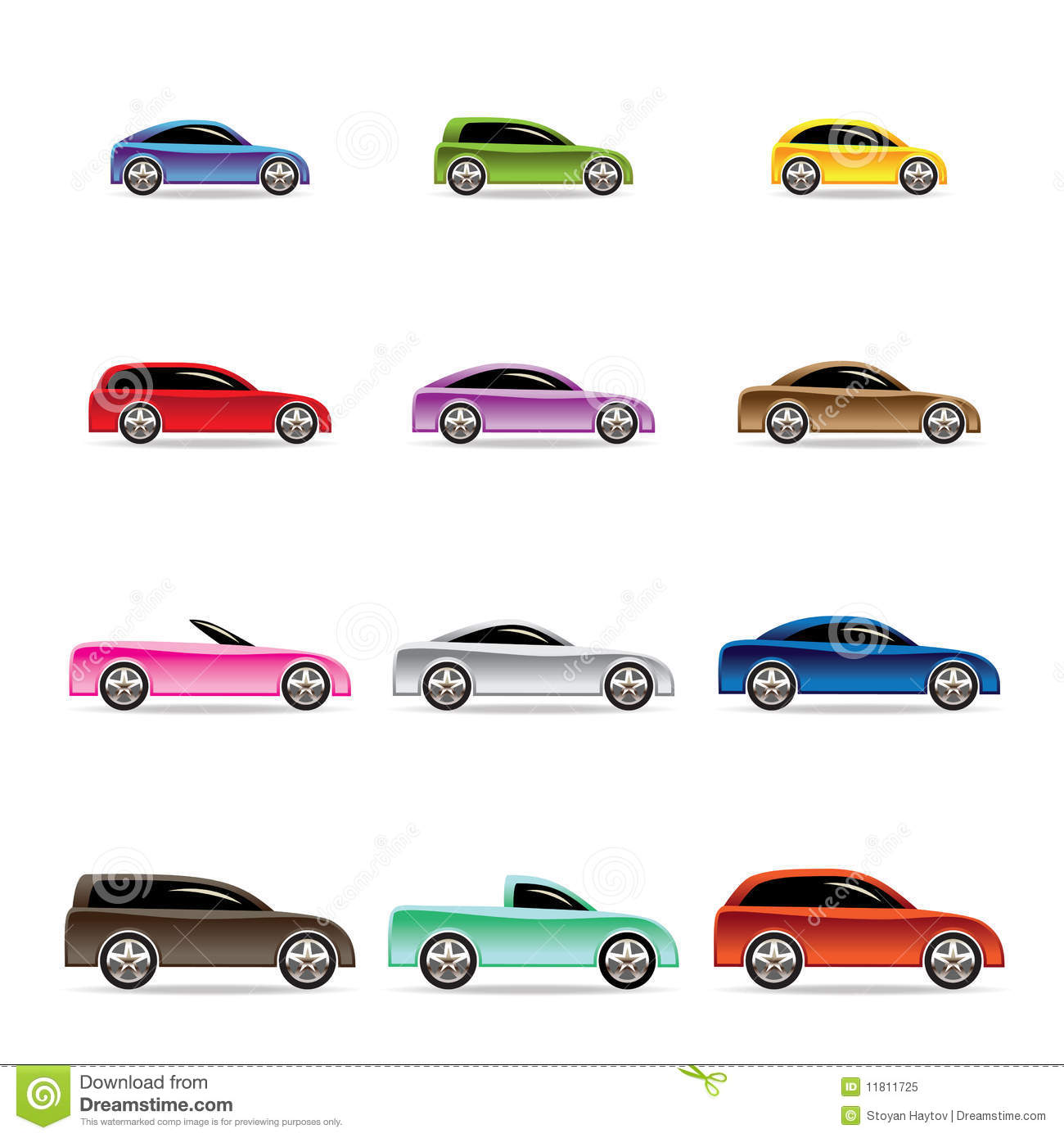Different Types Of Cars Icons Stock Vector Illustration
