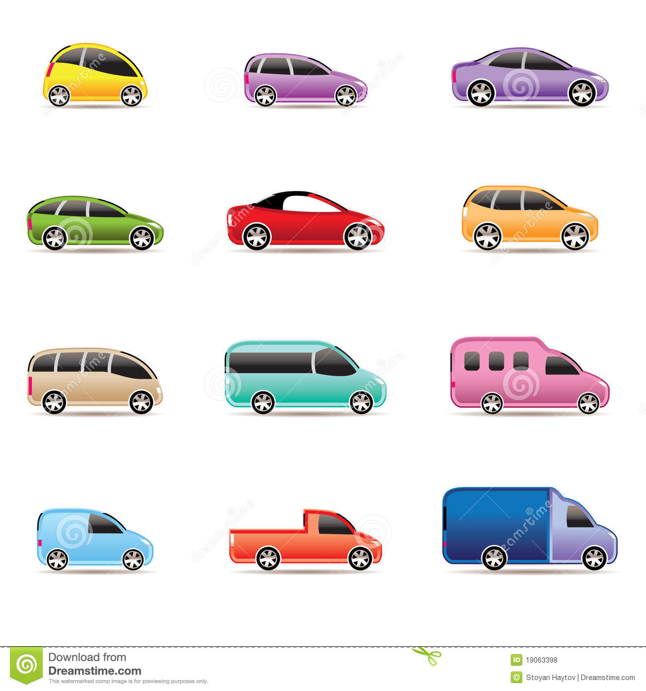 Different Types Of Cars Icons Royalty Free Stock Photos