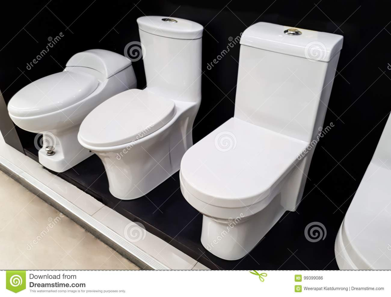 Different types of toilets stock photo. image of porcelain 99399086