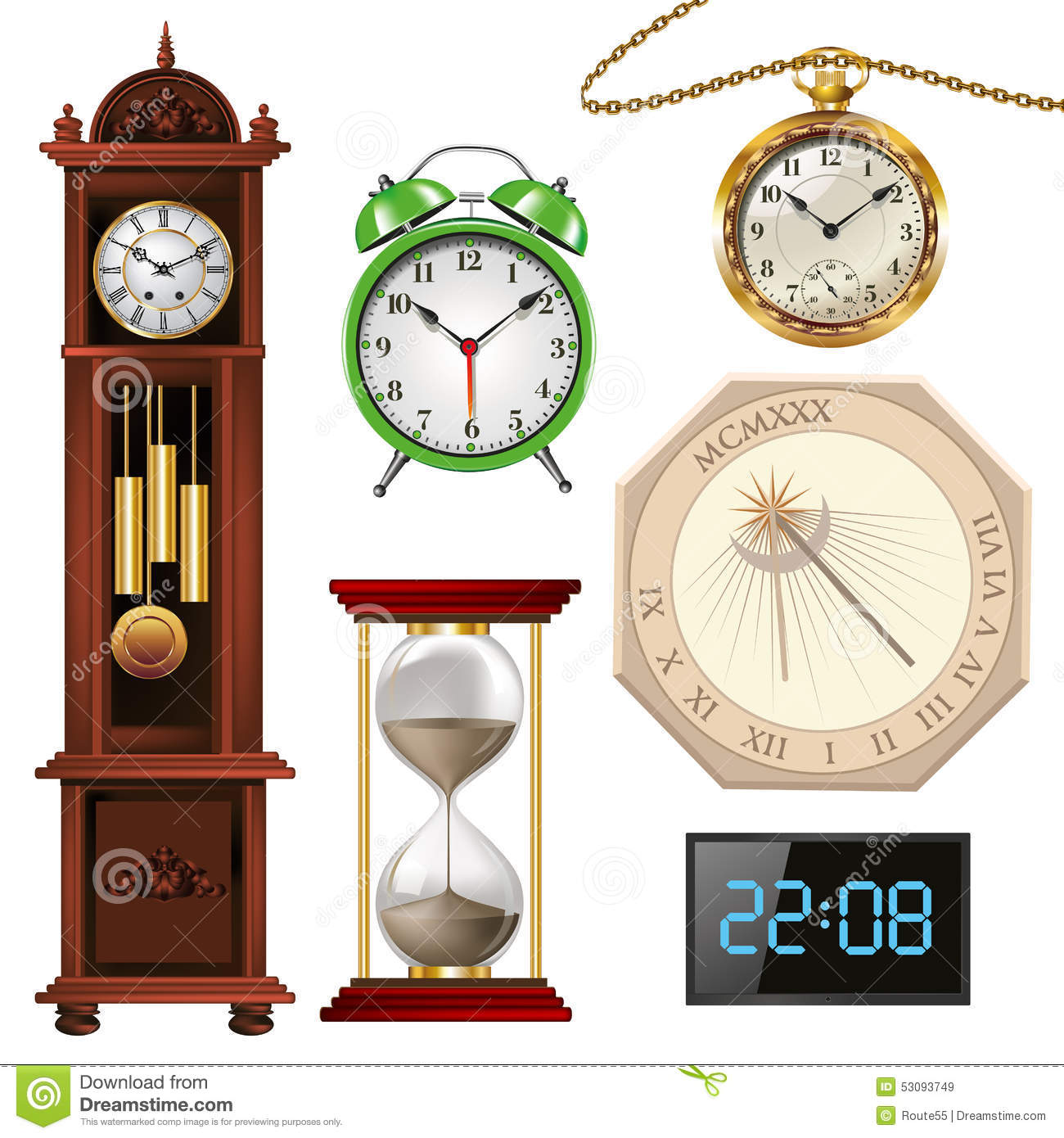 Different Types Of Clocks Stock Vector Illustration Of