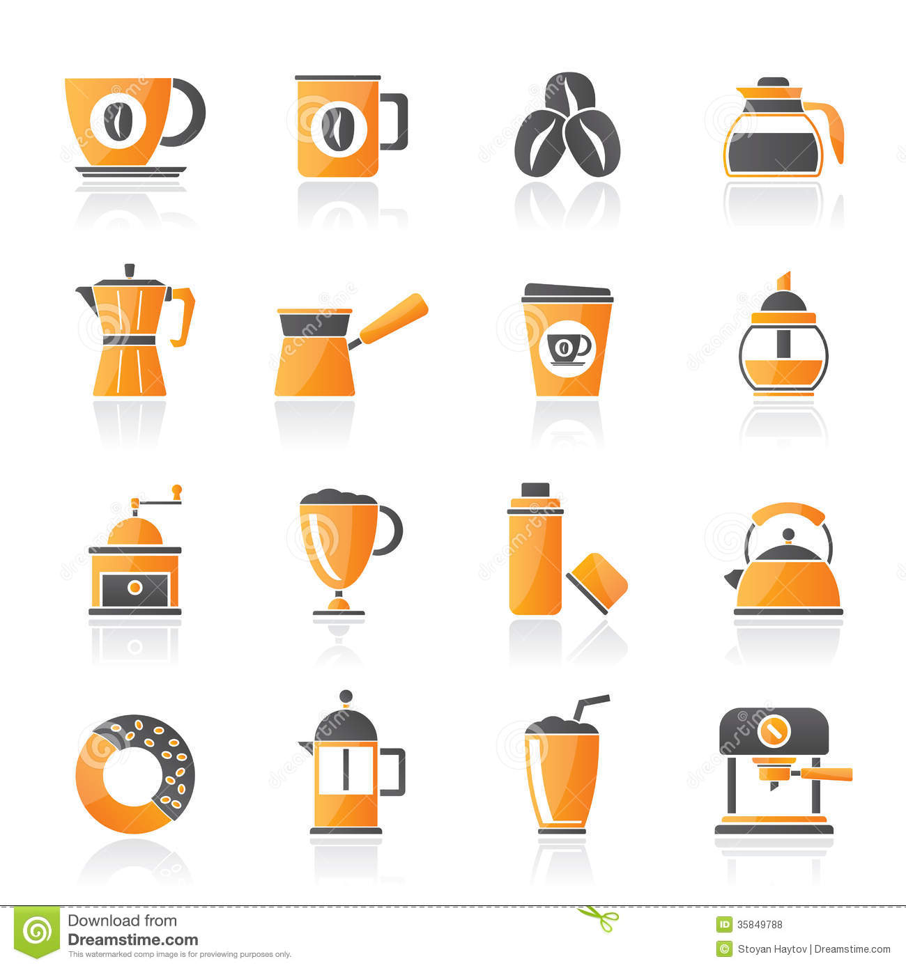 Different types of coffee industry icons- vector icon set.: www.dreamstime.com/royalty-free-stock-photos-different-types-coffee...