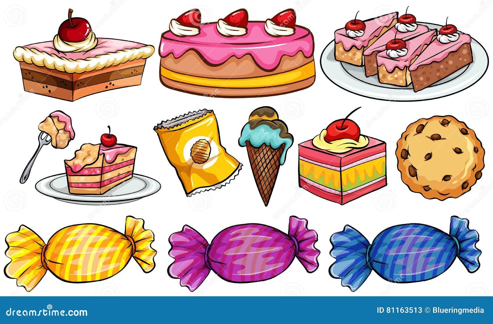Different Types Of Desserts Cartoon Vector