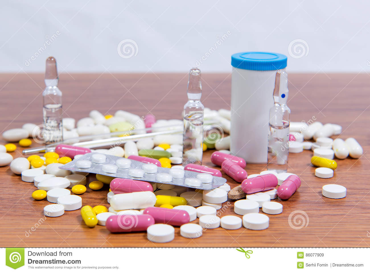 Different Types Of Drugs Are Scattered On The Table