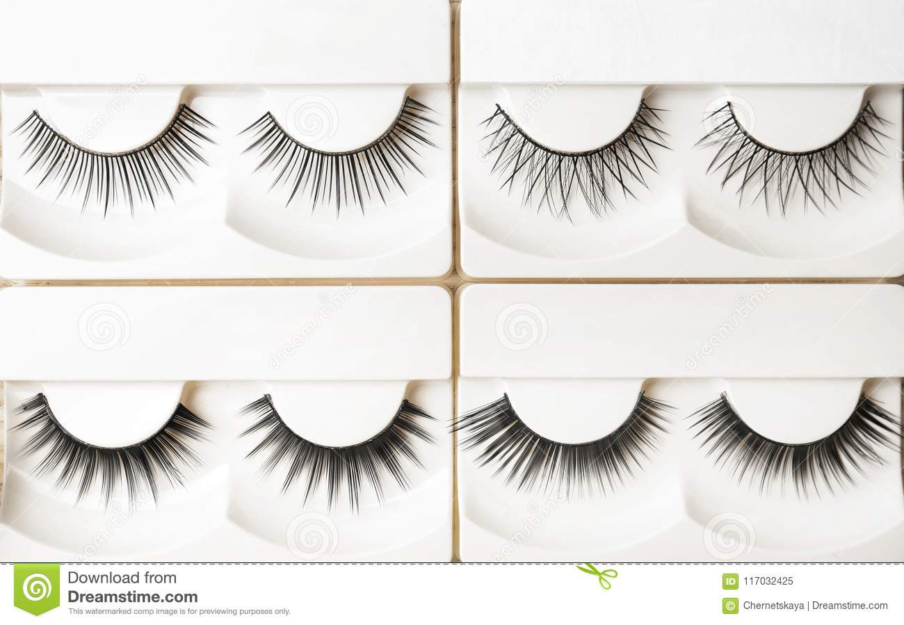 Different Types Of False Eyelashes In Packs Stock Image Image Of