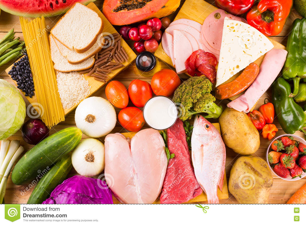 Different types of foods stock photo image 70679100 - Different types of entrees ...