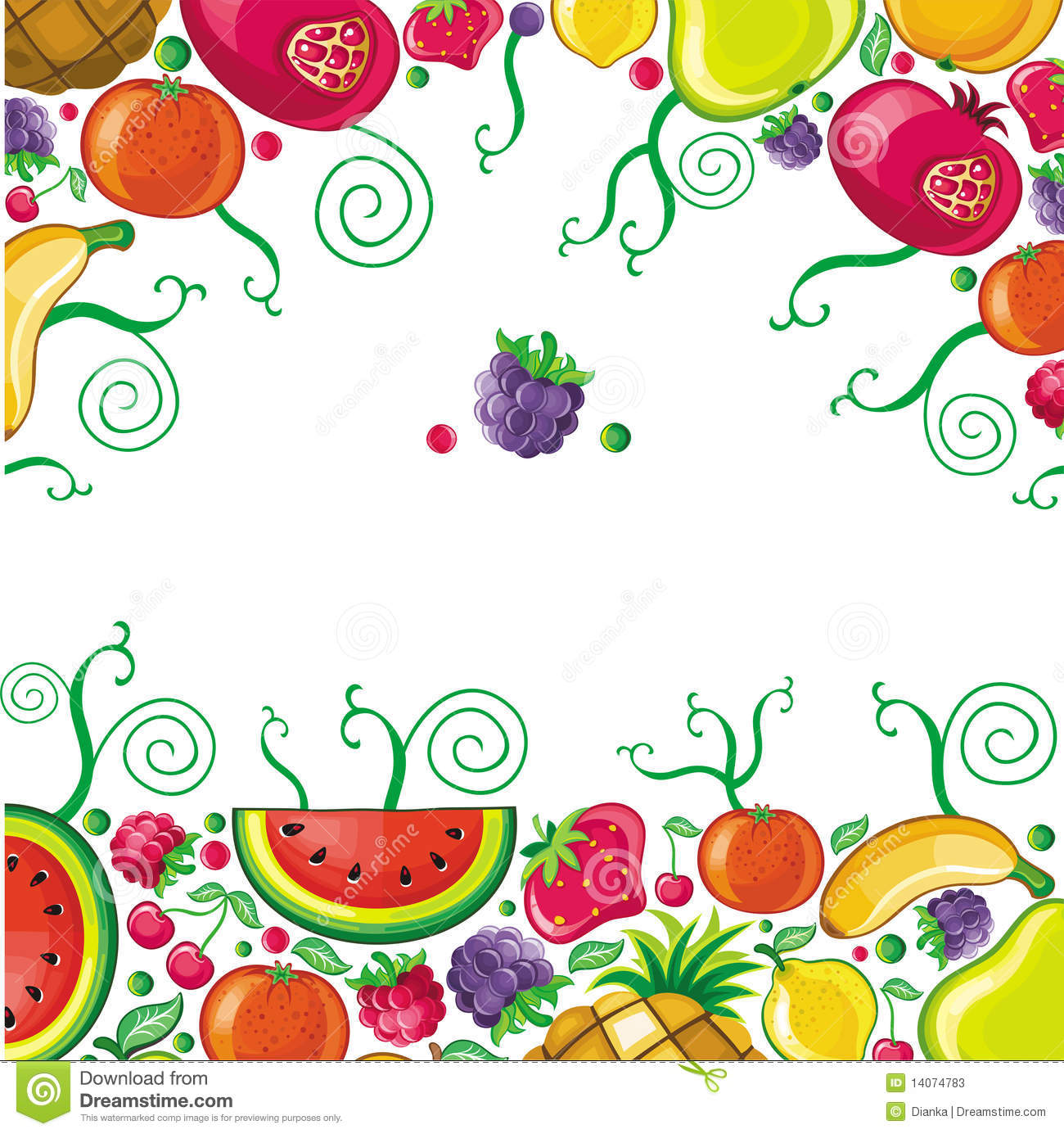 Different Types Of Fruits Combined In Frame Stock Vector ...