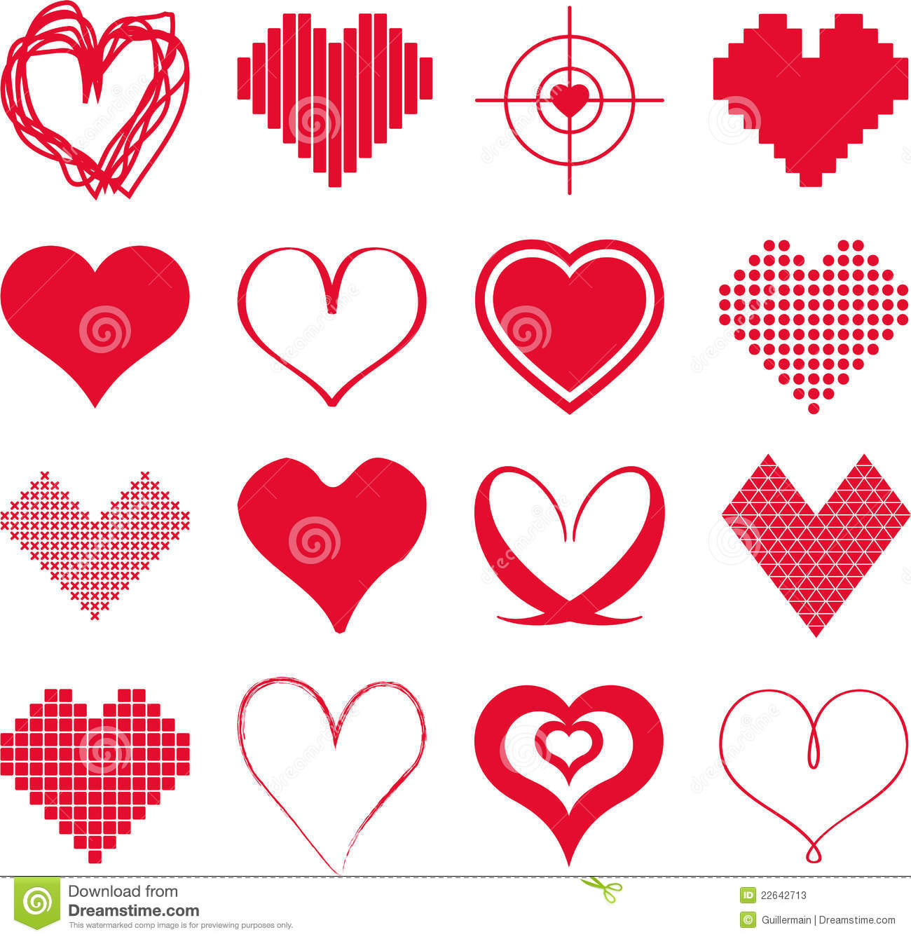 Different types of hearts stock vector illustration of for Passion amistad