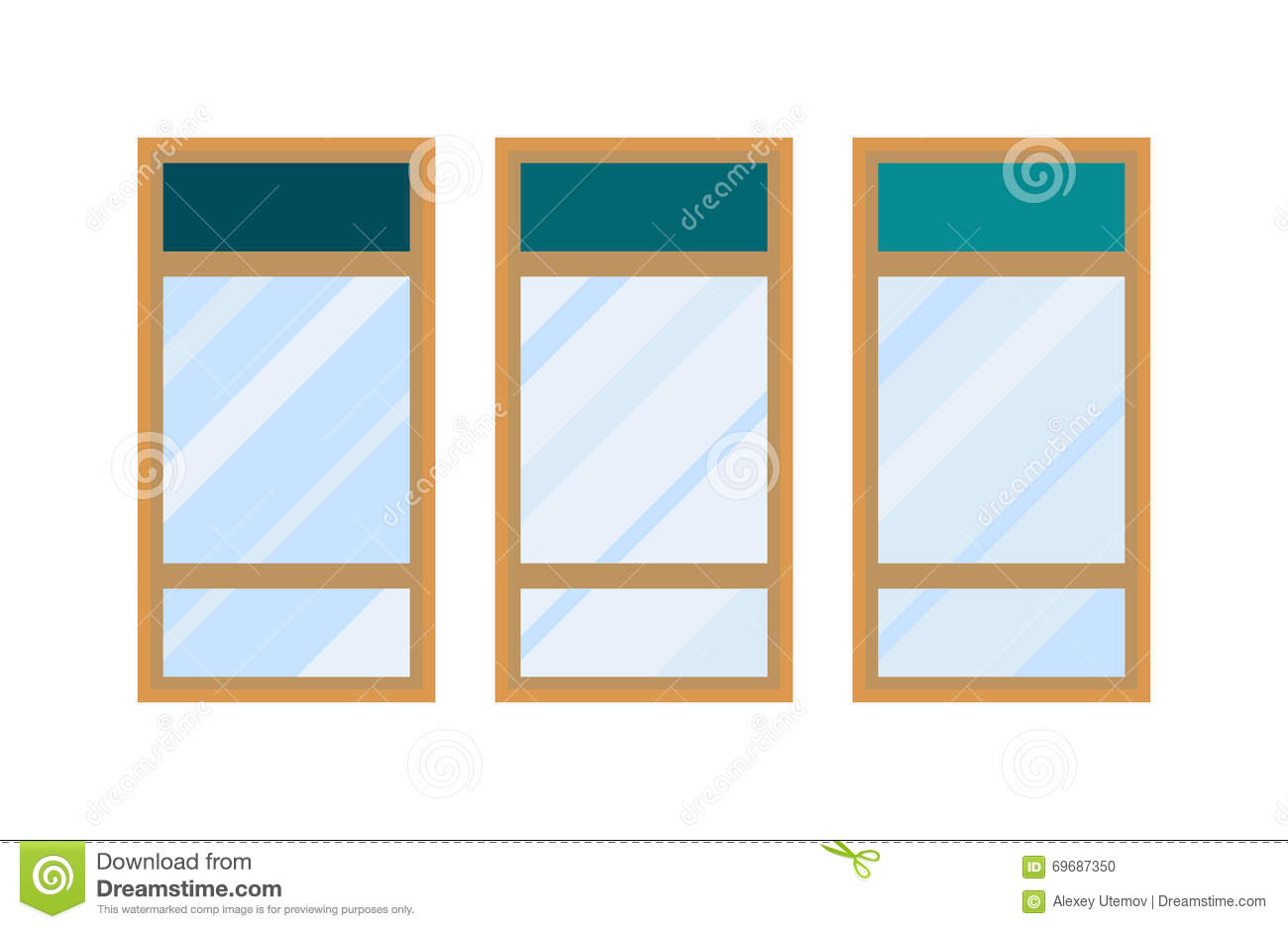 Different Types House Windows Vector Elements Isolated On