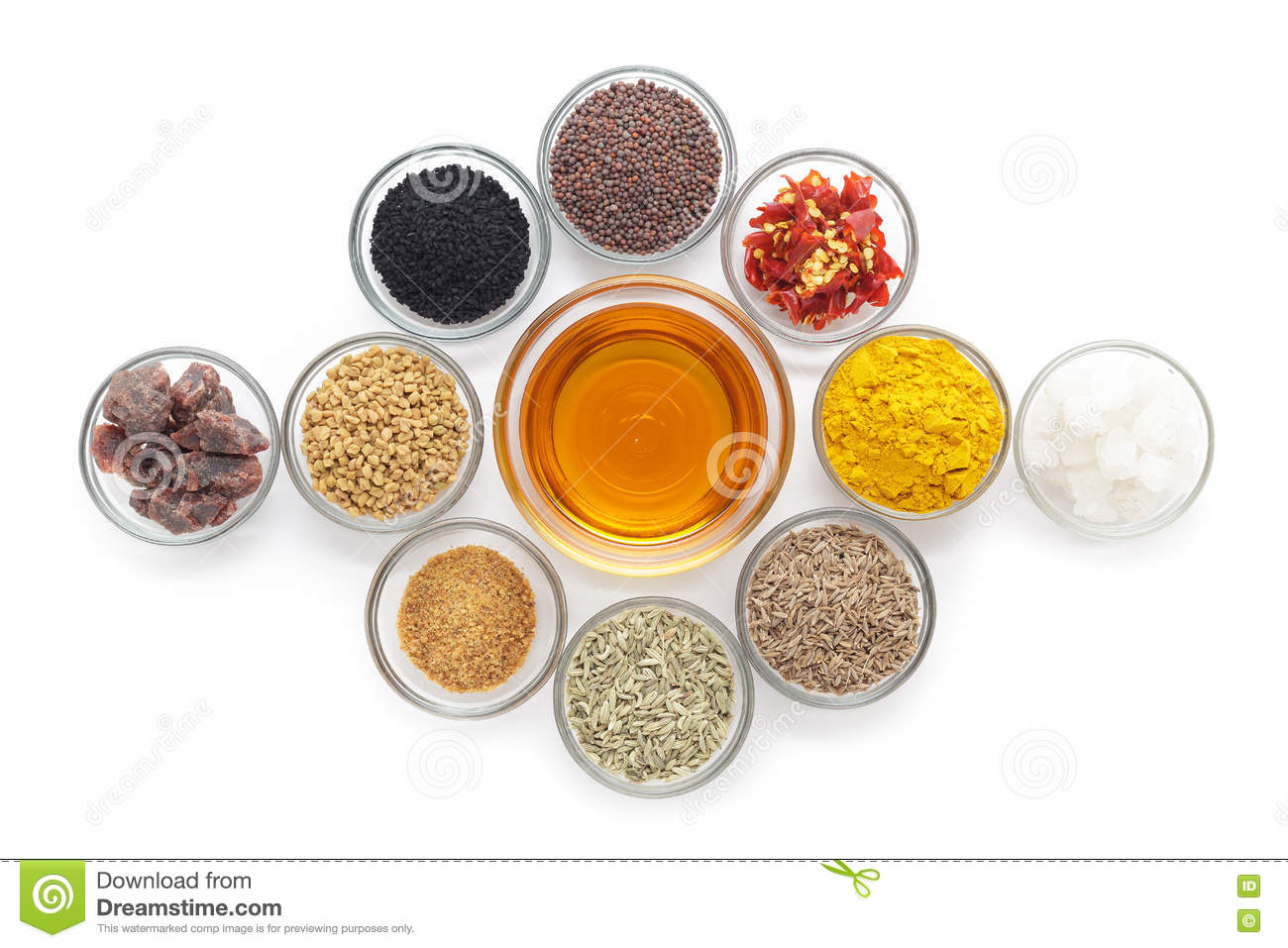 Different Types Of Indian Spices In Glass Bowls. Stock Photo ...