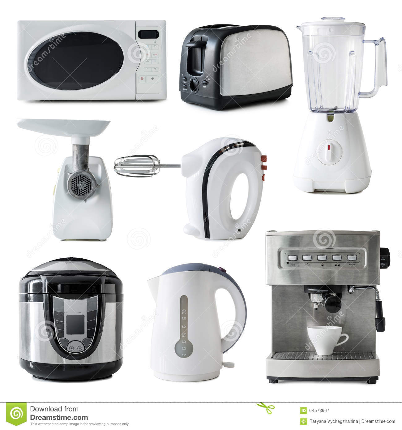 Of Kitchen Appliances Different Types Of Kitchen Appliances Collage Stock Photo Image