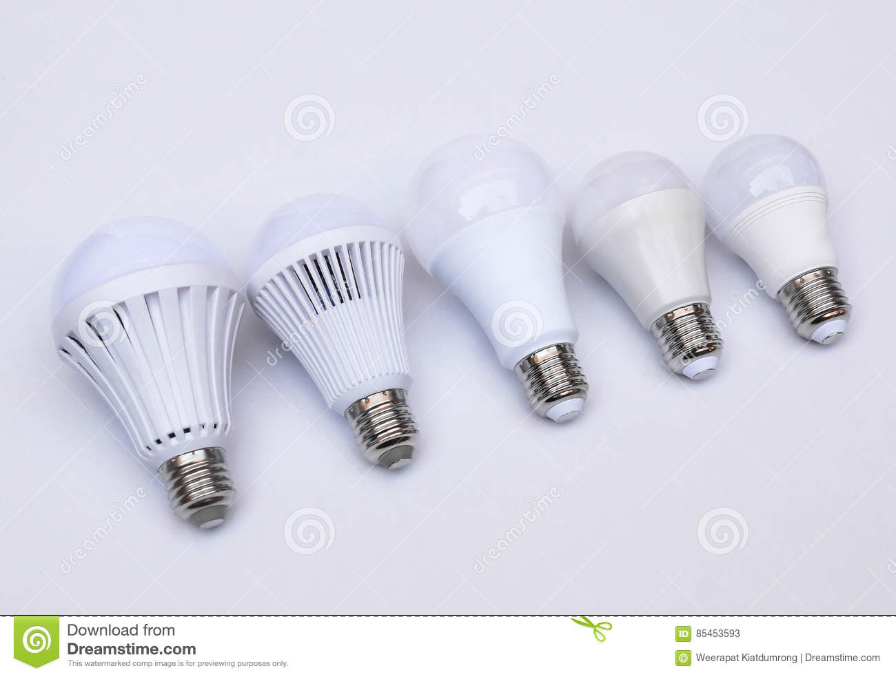 Different Types Of LED Light Bulbs Stock Image