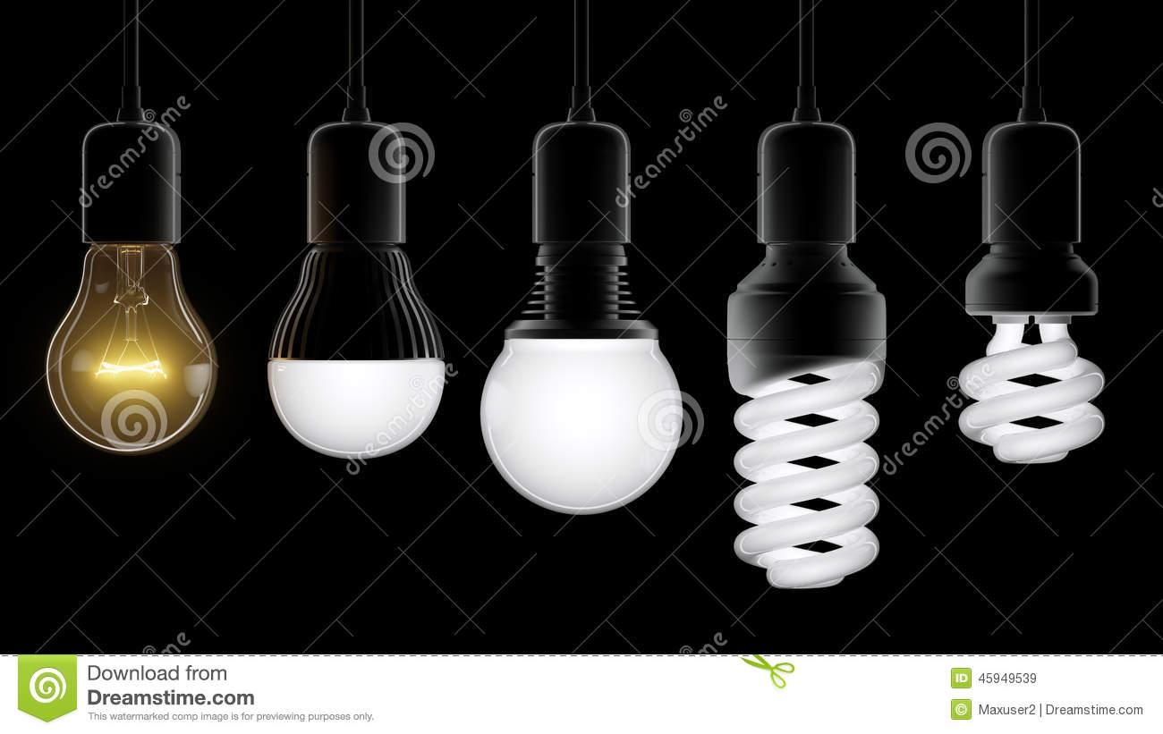 Download Different Types Of Light Bulbs Stock Image   Image Of Ideas, Gray:  45949539