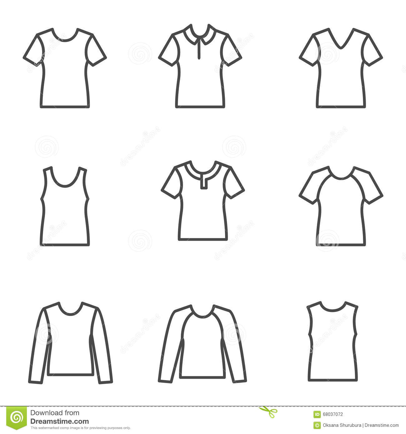 Different Types Of Man S T Shirts As Line Icons Stock Vector