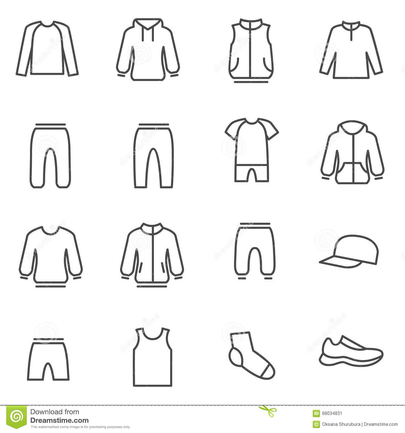Different Types Of Lines In Fashion Designing : Different types of man s clothes for sport stock vector