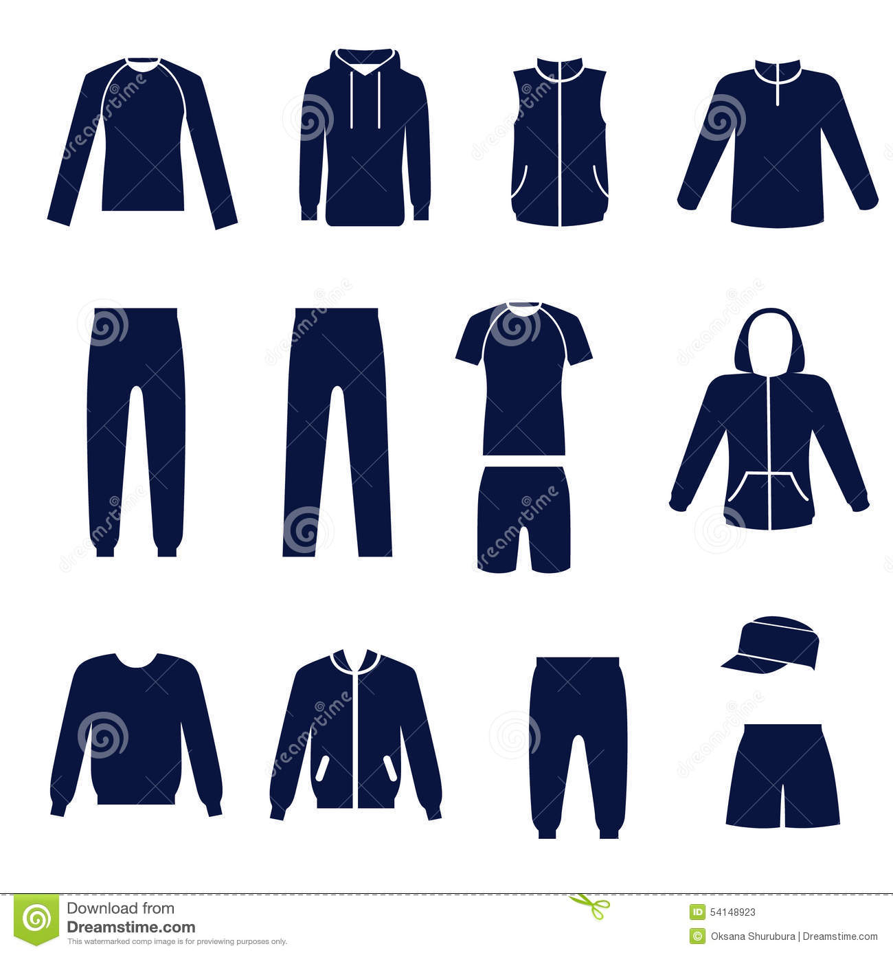 Different types of men s clothes for sport stock vector for Types of denim shirts