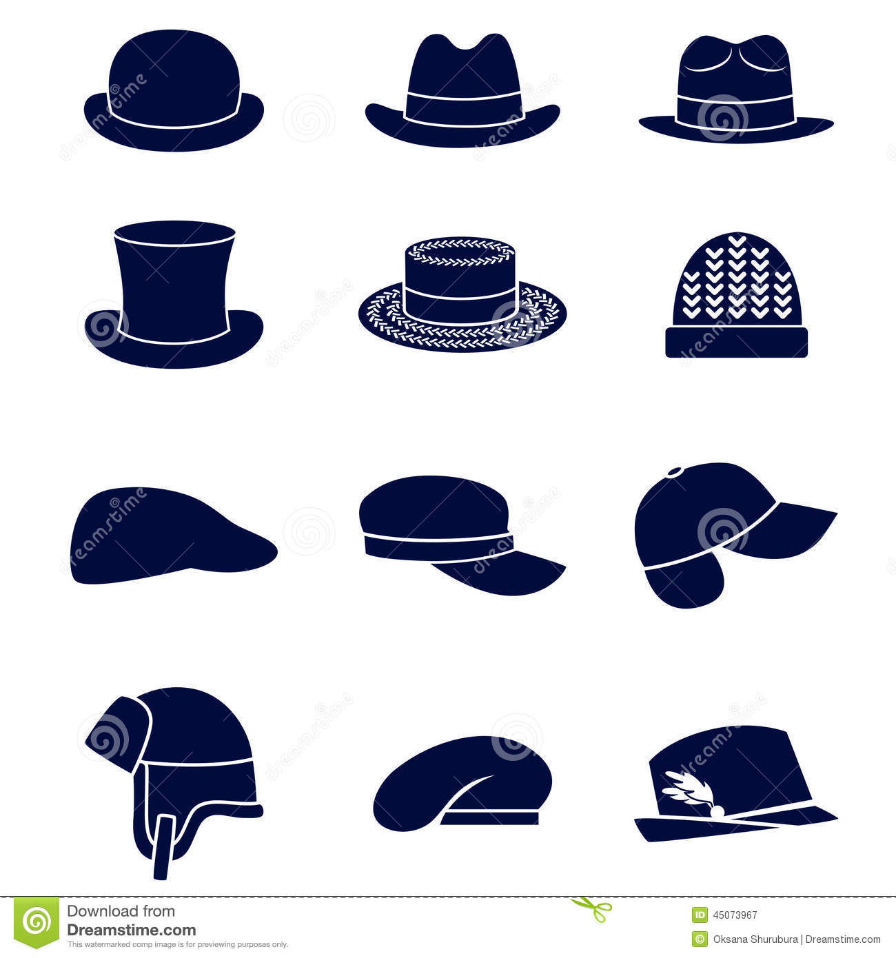 Different Types Of Men Hats Stock Vector - Illustration of hats ... 6c9f2d61c2ef
