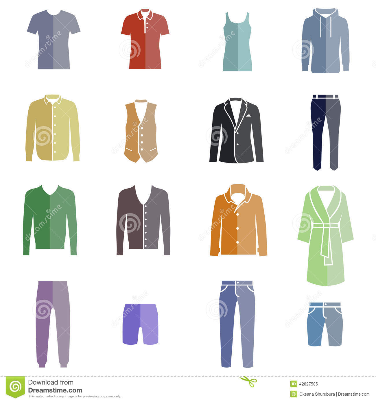 Different Types Of Men 39 S Clothes As Color Icons Stock