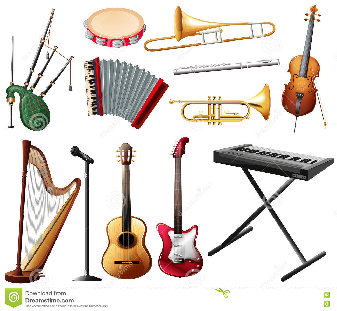 Different types of musical instrument on white stock for Instruments de musique dax