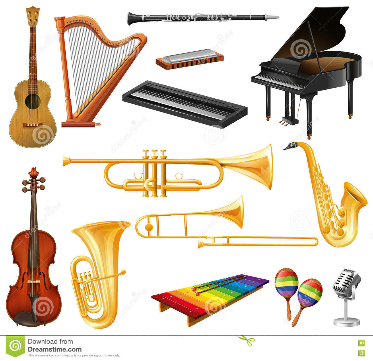 Different Types Of Musical Instruments Stock Vector - Illustration ...