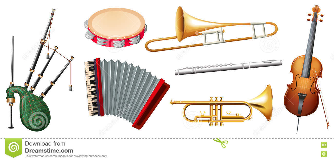 Different Types Of Musical Instruments Stock Illustration ...