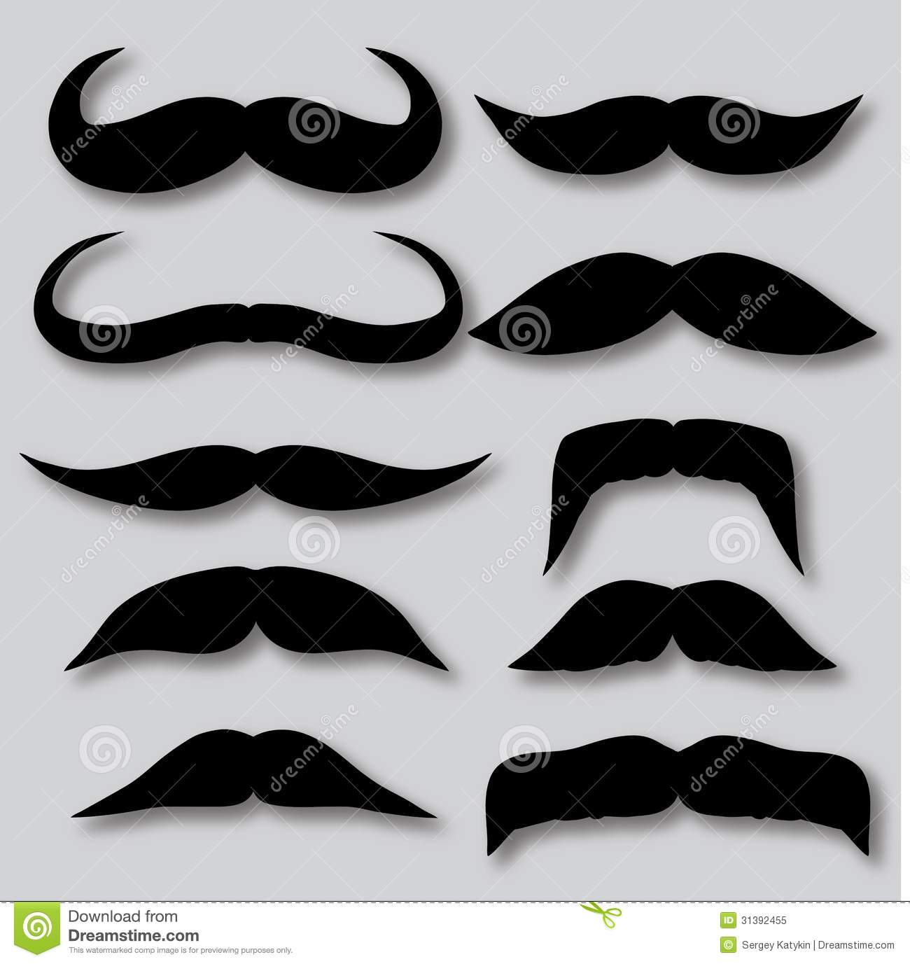 Different Types Of Mustaches Retro Style Stock Vector
