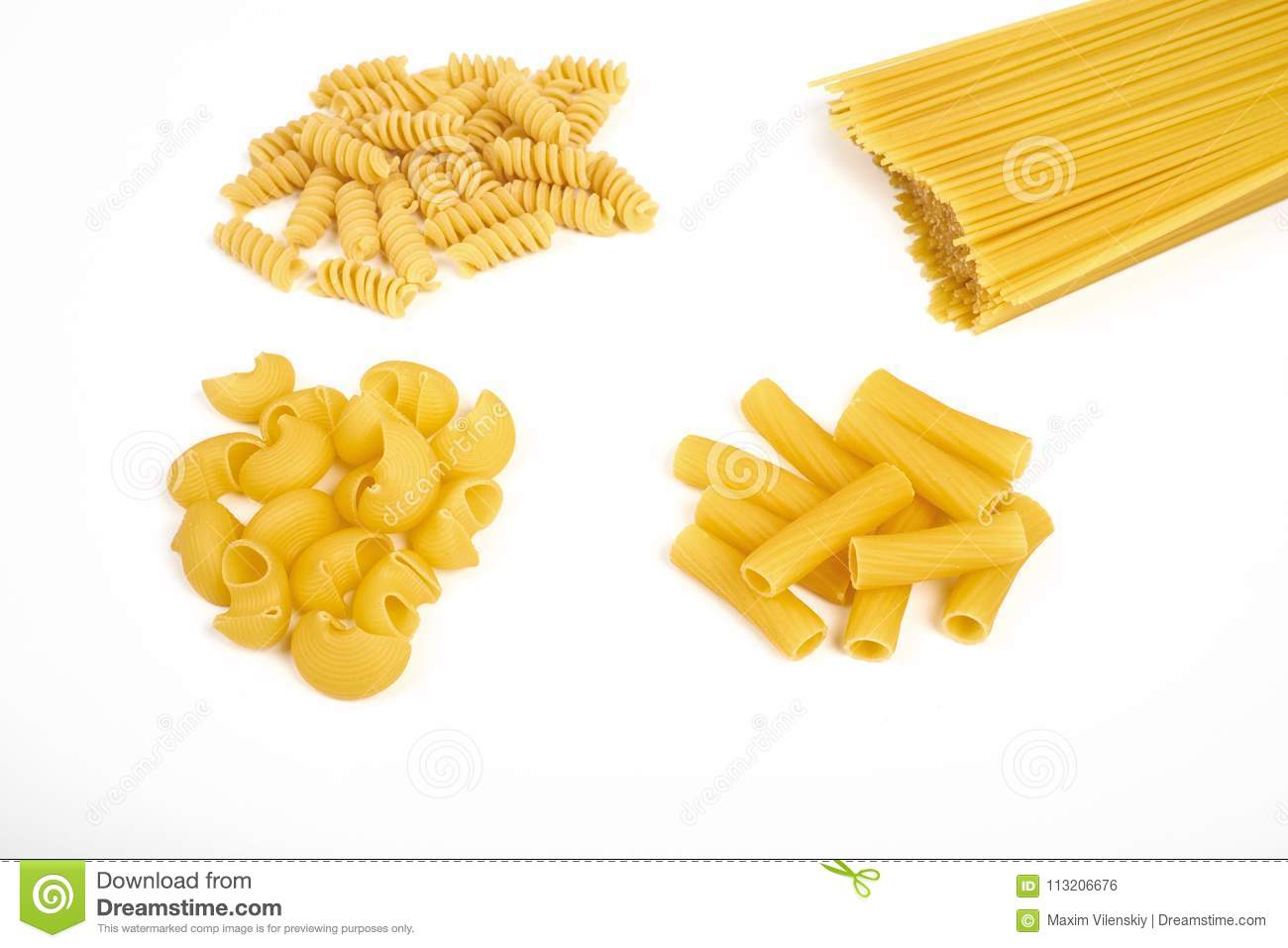 different types of pasta isolated on white stock photo image of