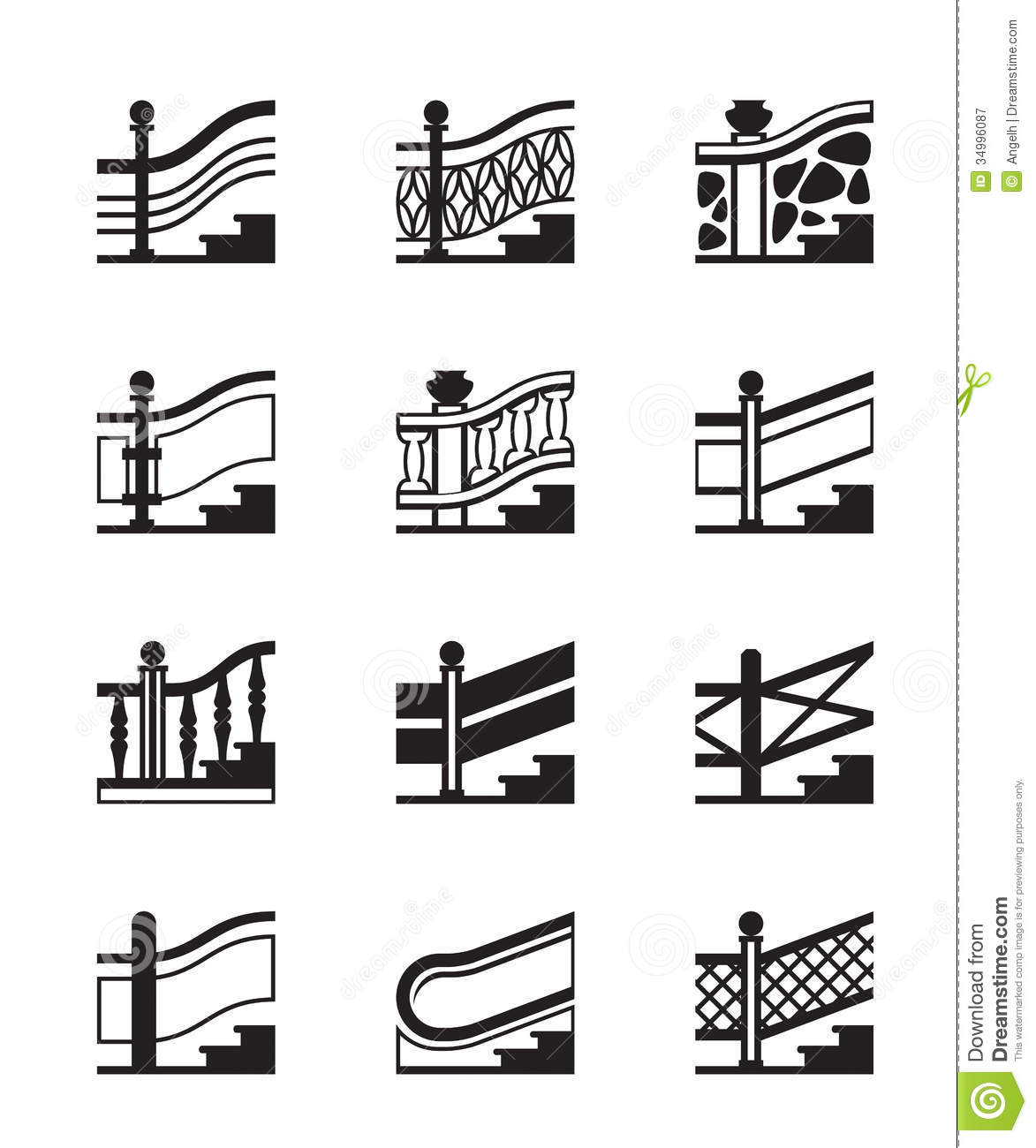Different Types Of Railings Royalty Free Stock Photography
