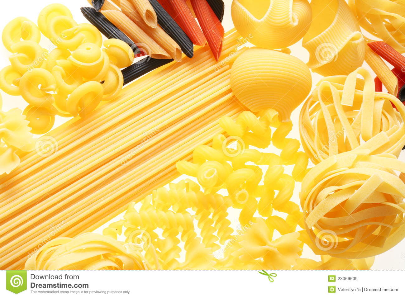 different types of raw pasta royalty free stock images