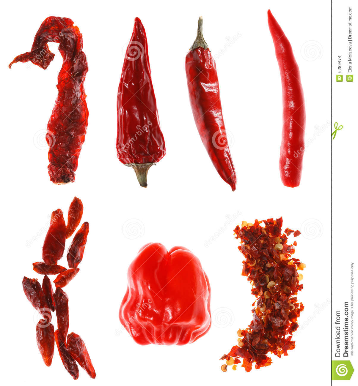 Different types of red chillies