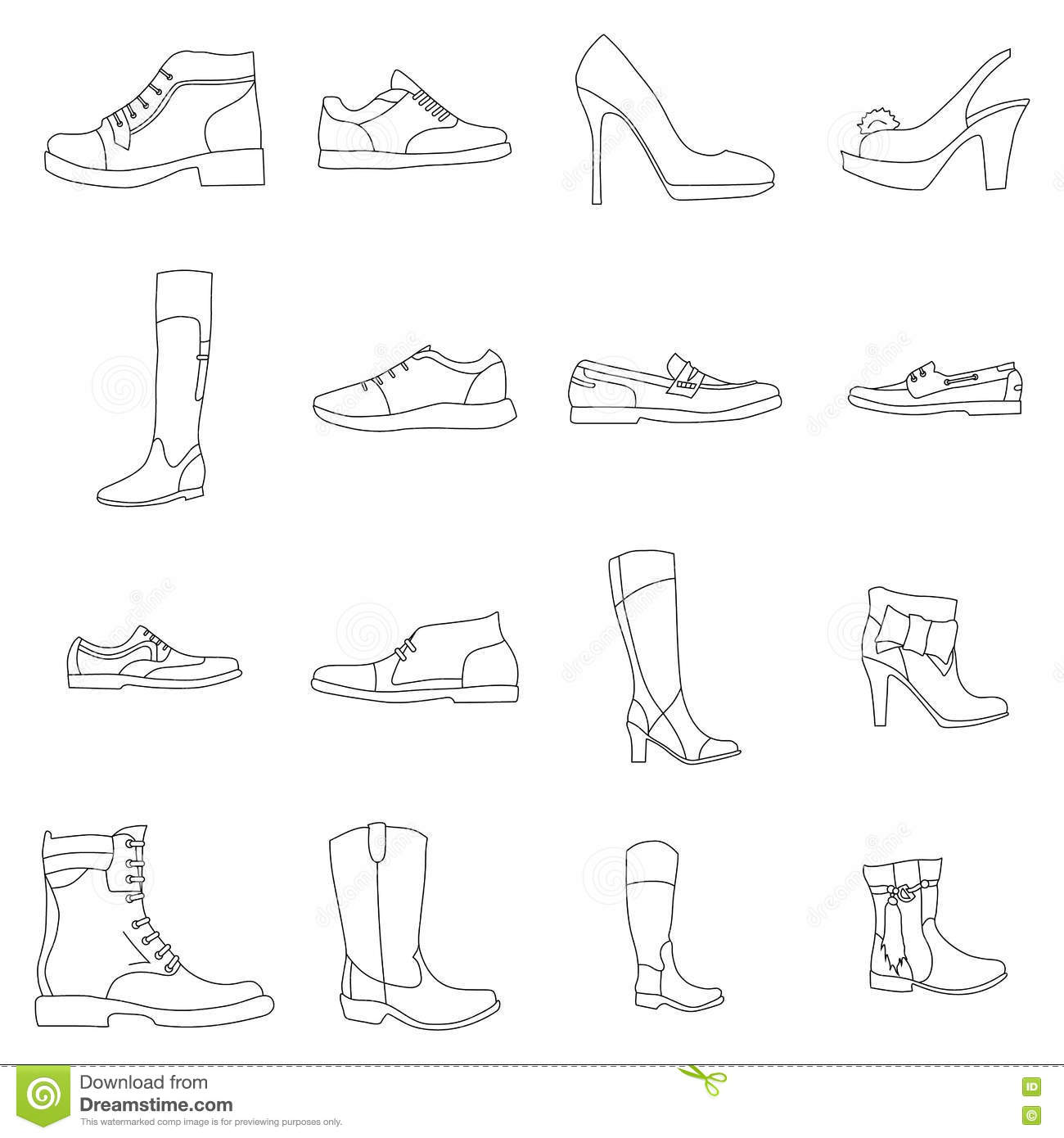 Types Of Contour Line Drawing : Different types of shoes contour an image stock vector