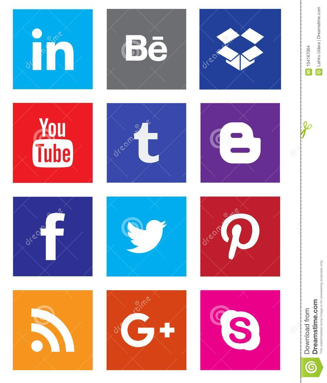 Social media icon collection buttons