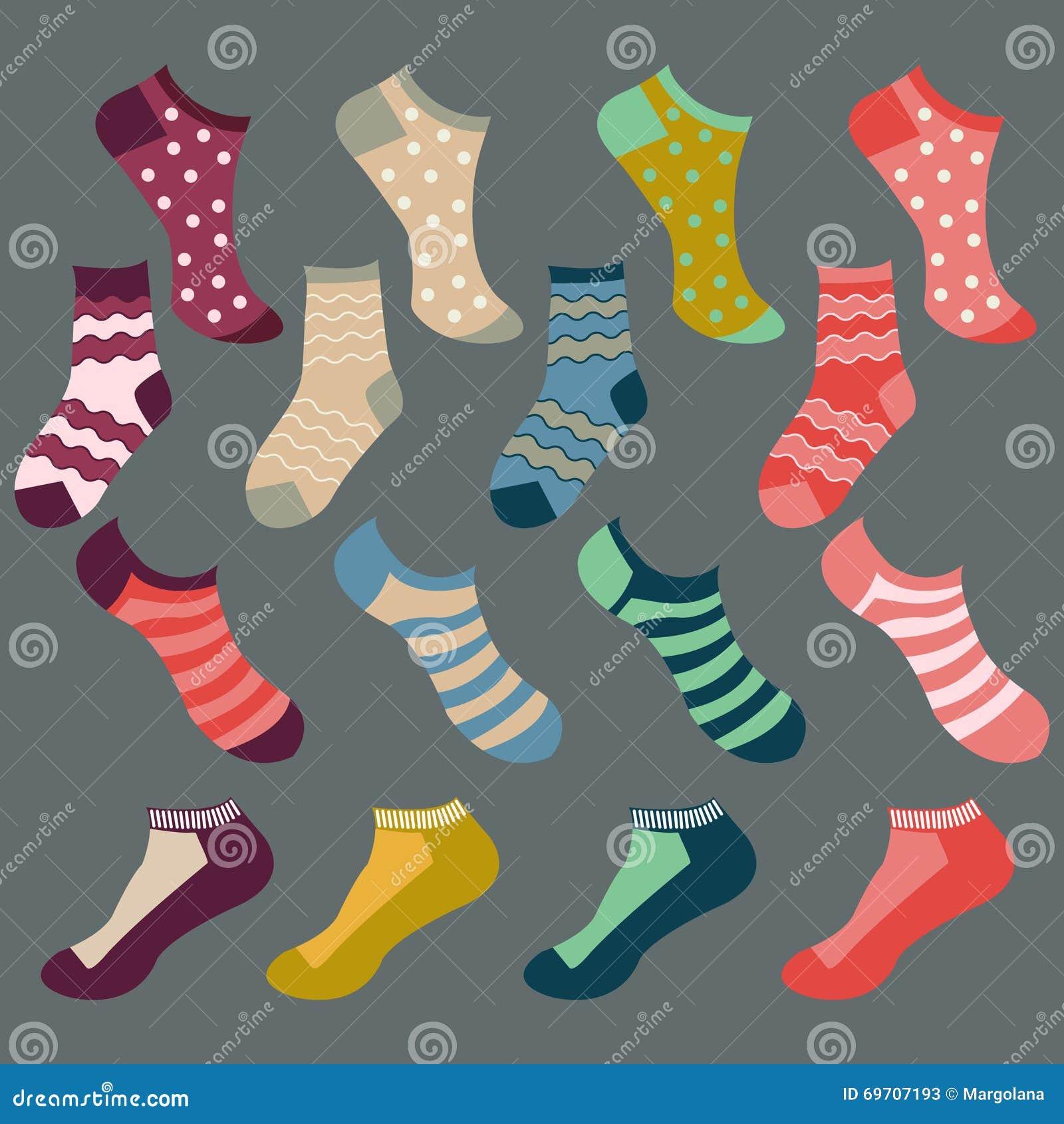 Different types of socks- Illustration Stock Photos - Types Of Socks Stock Illustration - Image: 75534167