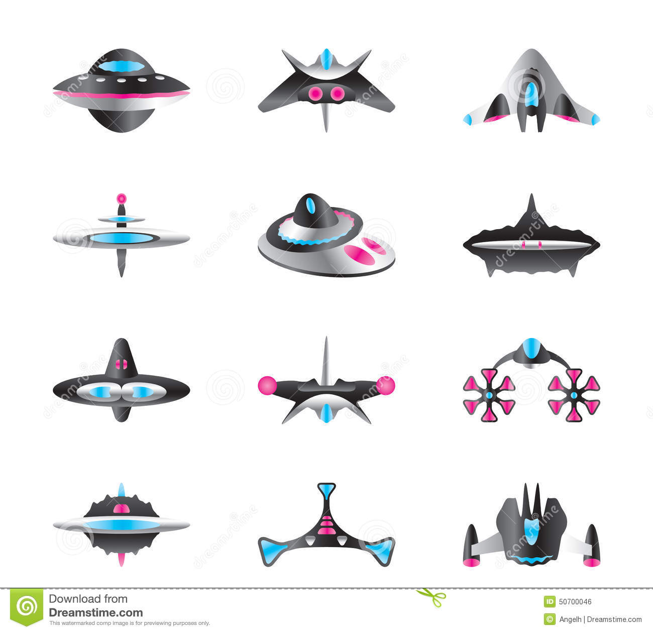 colourful cartoon rockets and spaceships vector stock vector