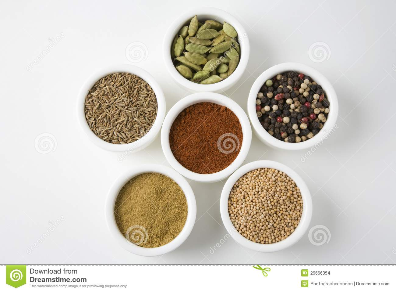Different Types Of Spices In Arranged In Bowls Stock Images ...