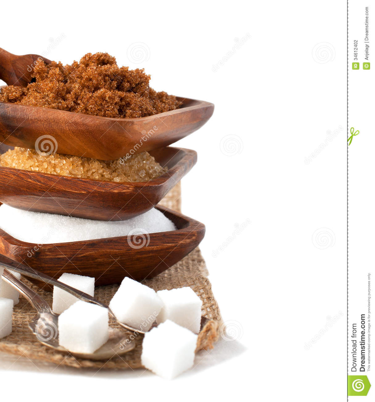 Different Types Of Sugar Demerara Brown And White Stock