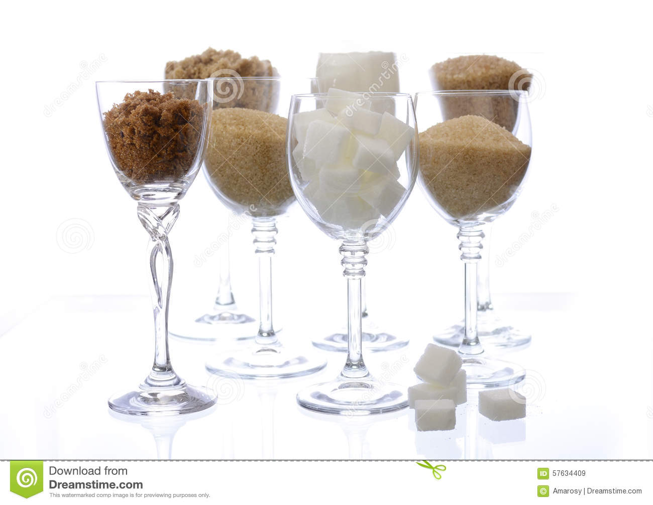 Different Types Of Sugar In Glasses On White Stock Photo