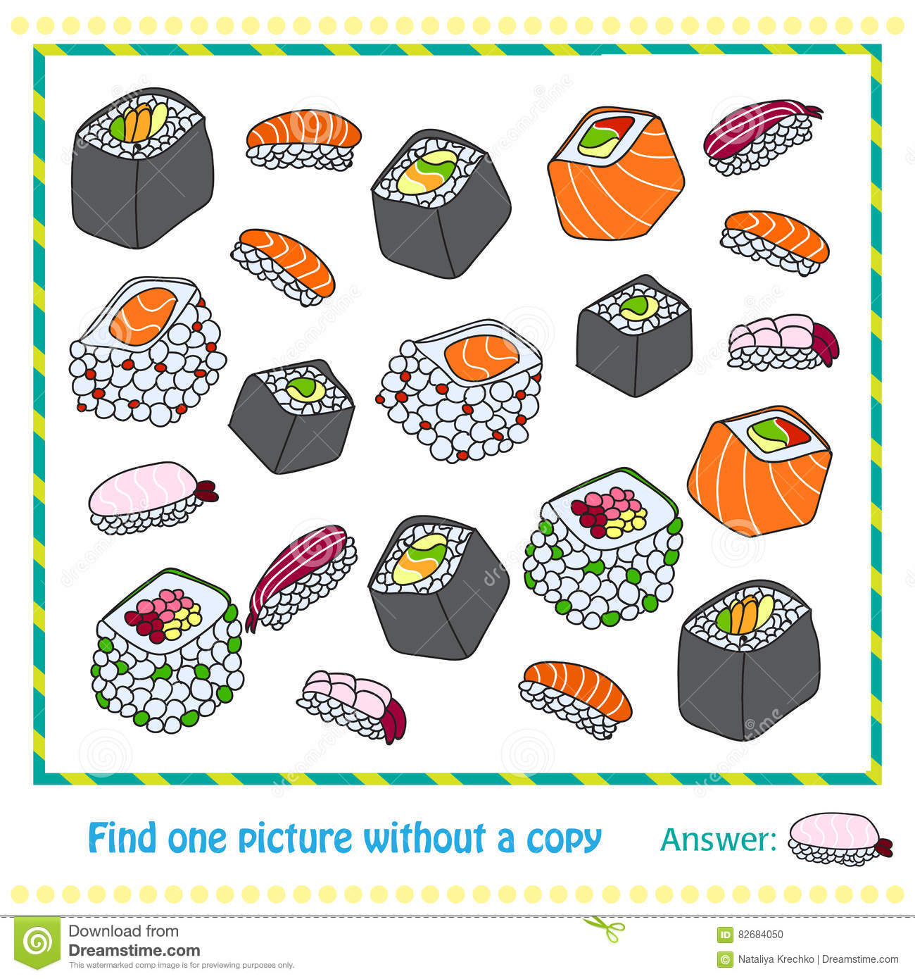 Different Types Of Sushi Game Stock Vector Illustration Of Tuna