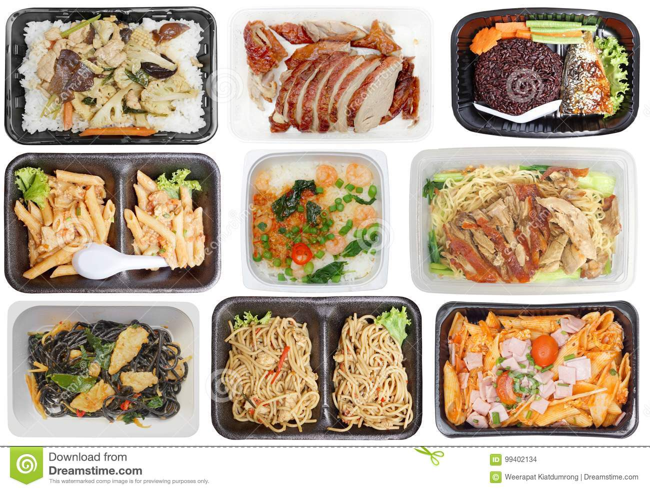 Takeaway Food In Microwavable Containers Stock Photo
