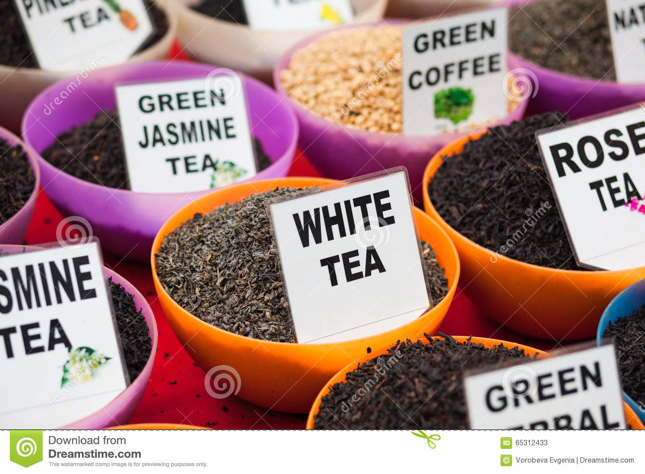 Different Types Of Tea For The Sale Stock Image Image Of Green
