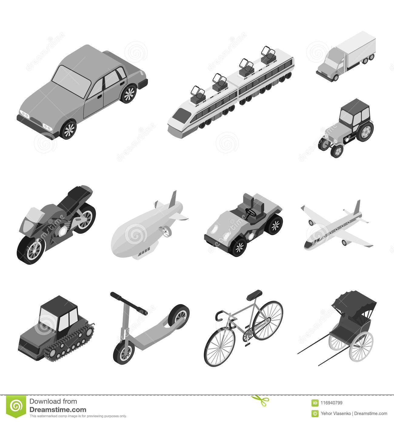 Different Types Of Transport Monochrome Icons In Set Collection For
