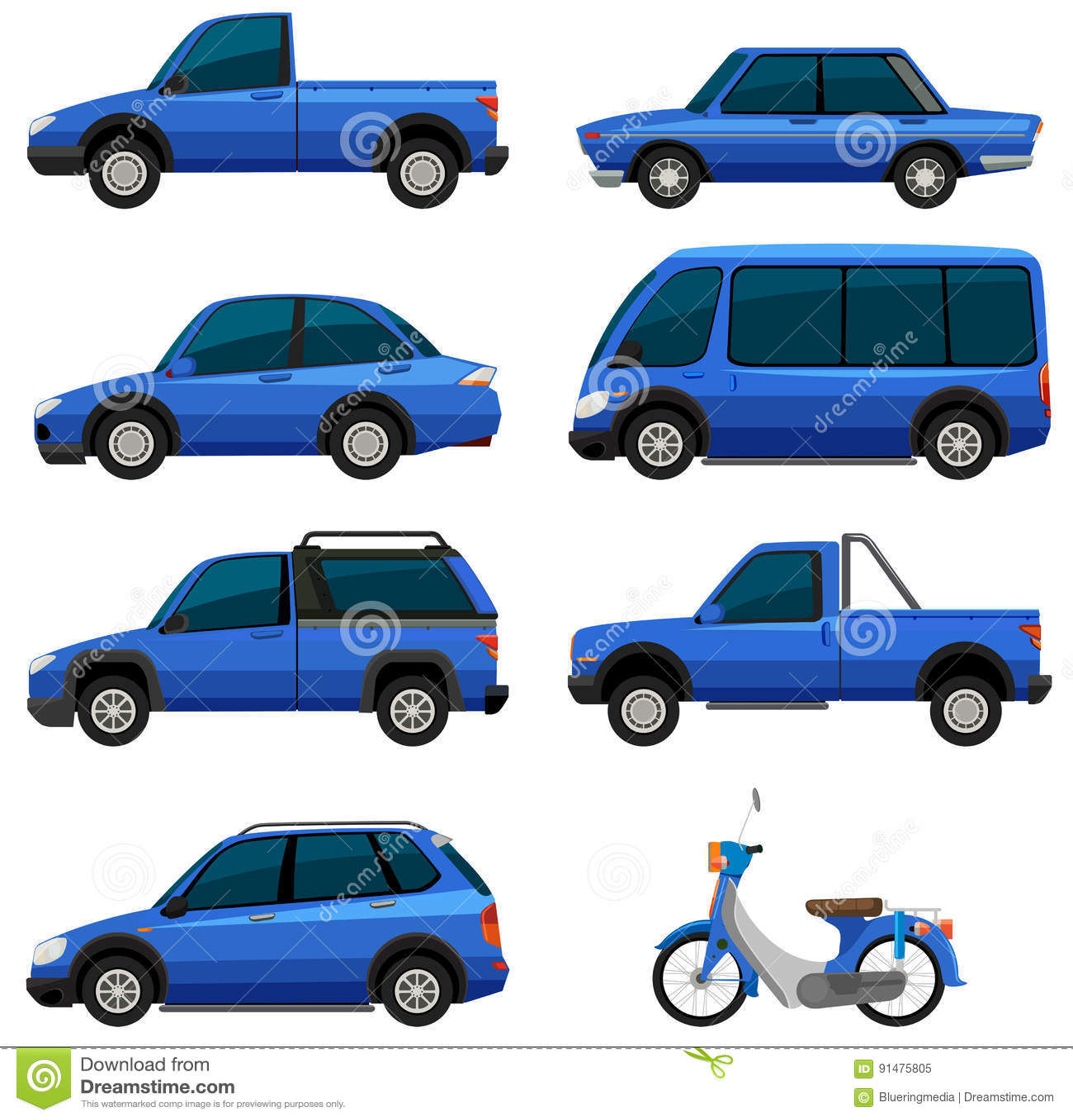 different types of transportations in blue color stock. Black Bedroom Furniture Sets. Home Design Ideas