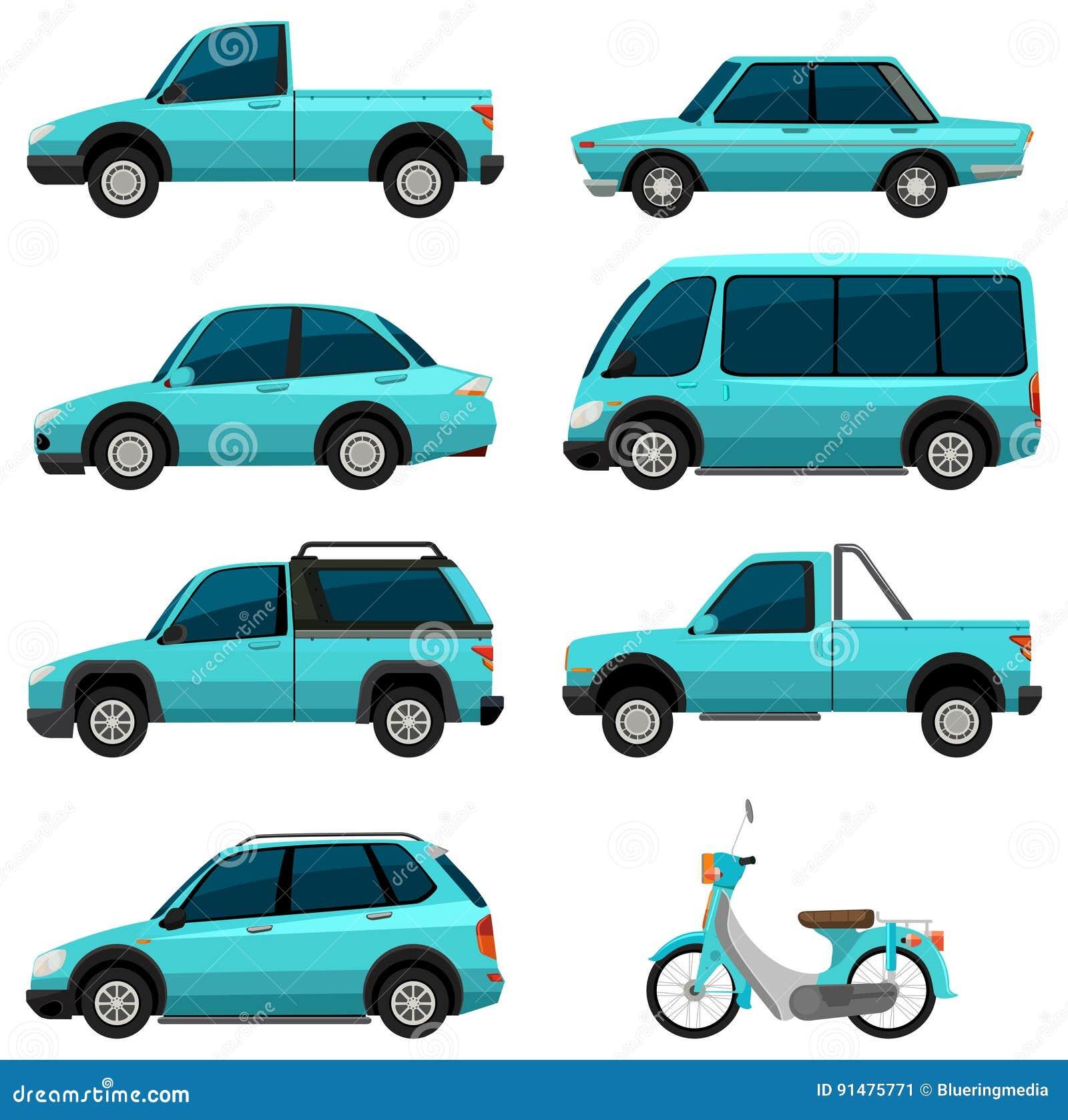 different types of transportations in light blue color. Black Bedroom Furniture Sets. Home Design Ideas