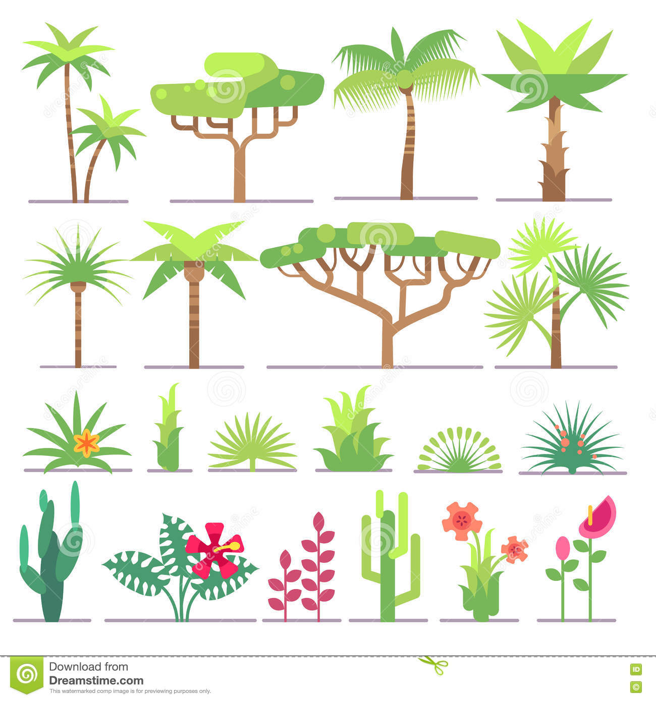 Different types of tropical plants trees flowers flat for Different types of plants and trees